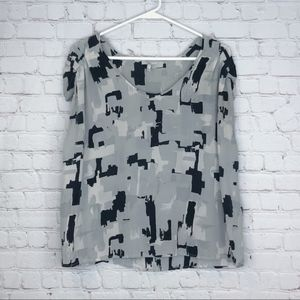 Joie Gray Printed Silk Blouse Size M